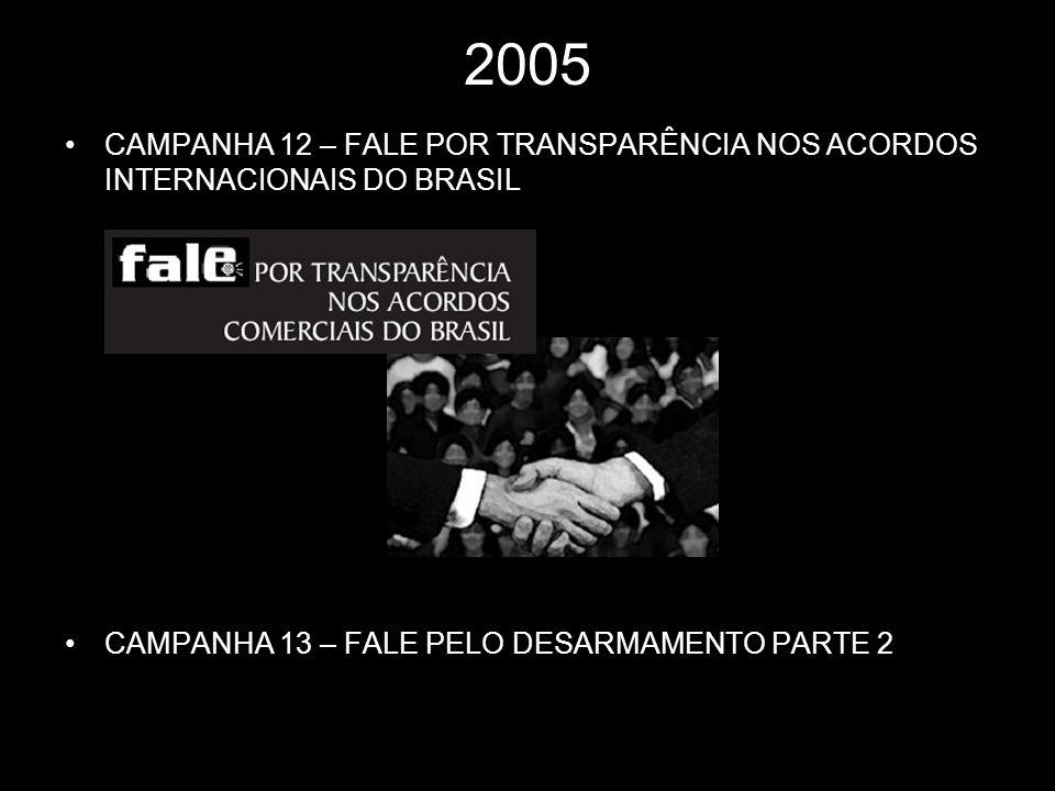2005 CAMPANHA 12 – FALE POR TRANSPARÊNCIA NOS ACORDOS INTERNACIONAIS DO BRASIL.