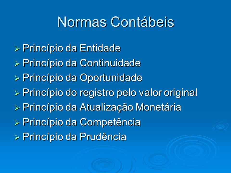 Normas Contábeis Princípio da Entidade Princípio da Continuidade