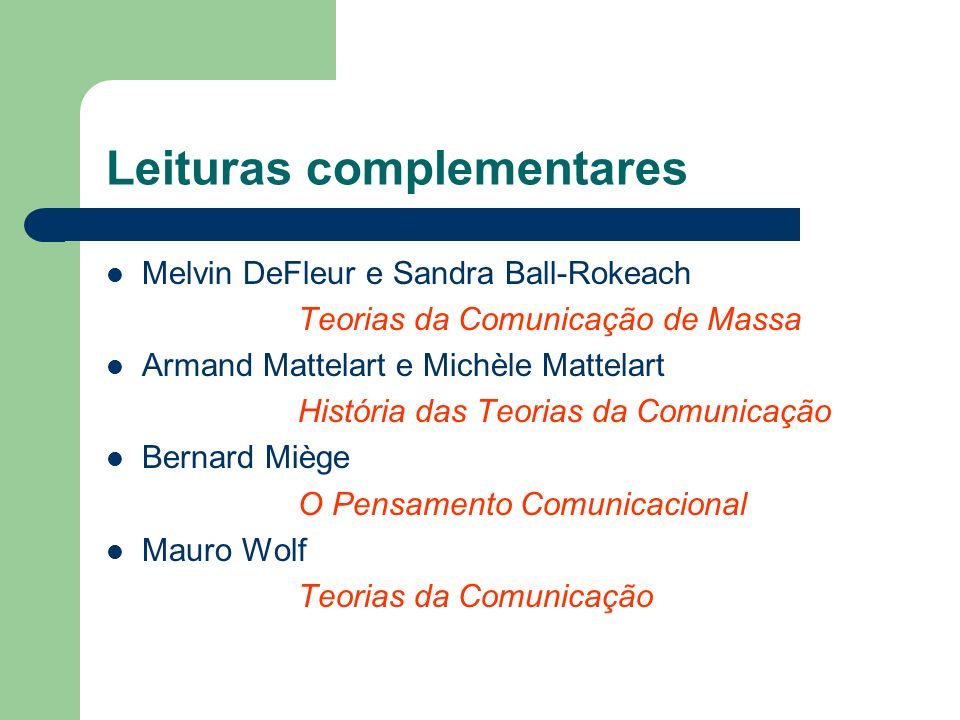 Leituras complementares