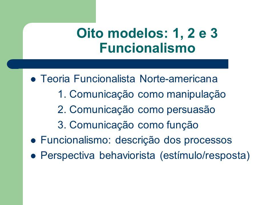 Oito modelos: 1, 2 e 3 Funcionalismo