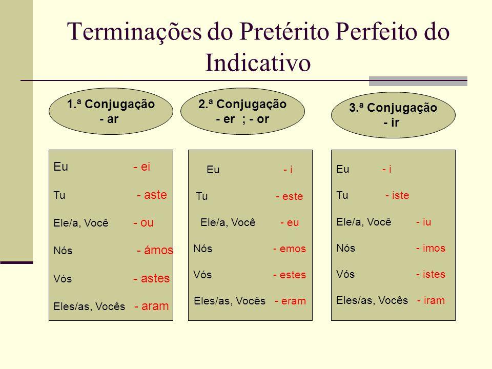 Terminações do Pretérito Perfeito do Indicativo