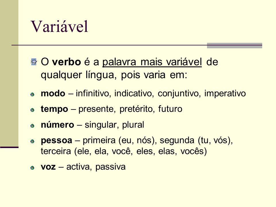 VariávelO verbo é a palavra mais variável de qualquer língua, pois varia em: modo – infinitivo, indicativo, conjuntivo, imperativo.