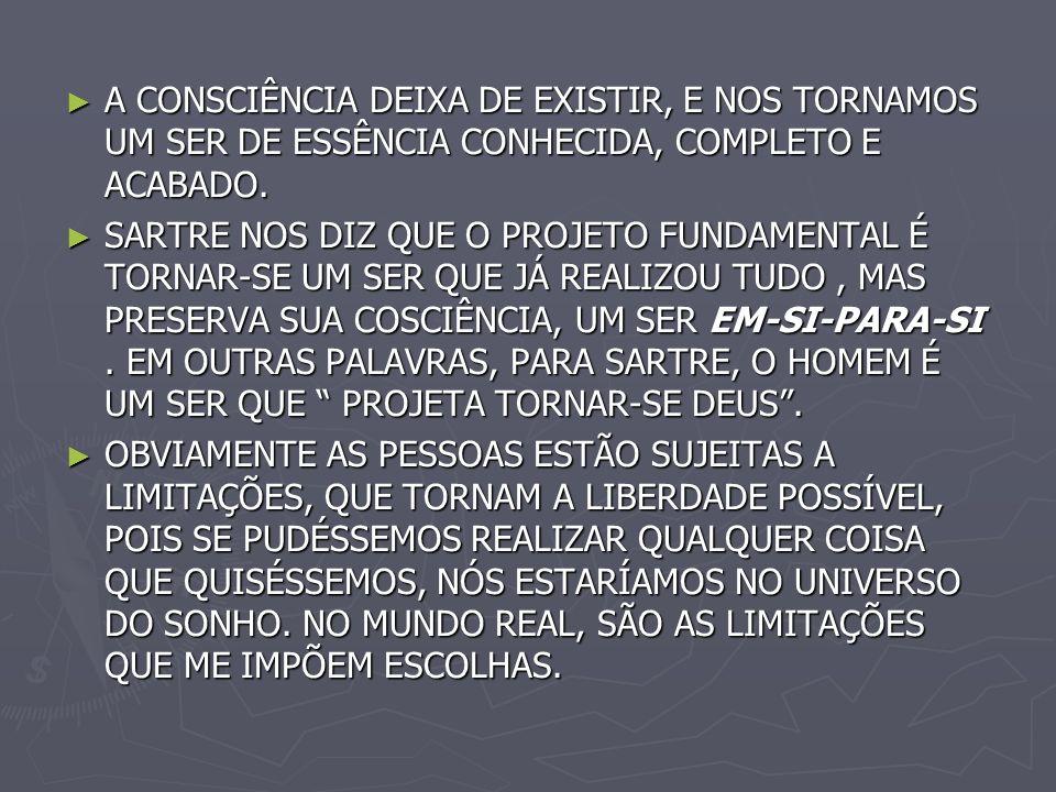 A CONSCIÊNCIA DEIXA DE EXISTIR, E NOS TORNAMOS UM SER DE ESSÊNCIA CONHECIDA, COMPLETO E ACABADO.