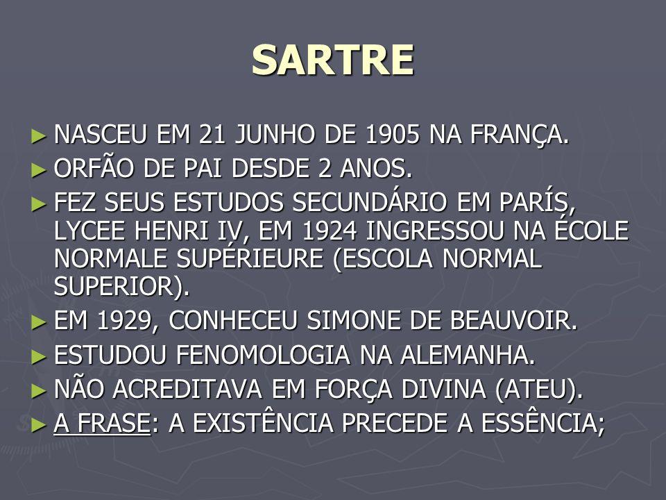 SARTRE NASCEU EM 21 JUNHO DE 1905 NA FRANÇA.