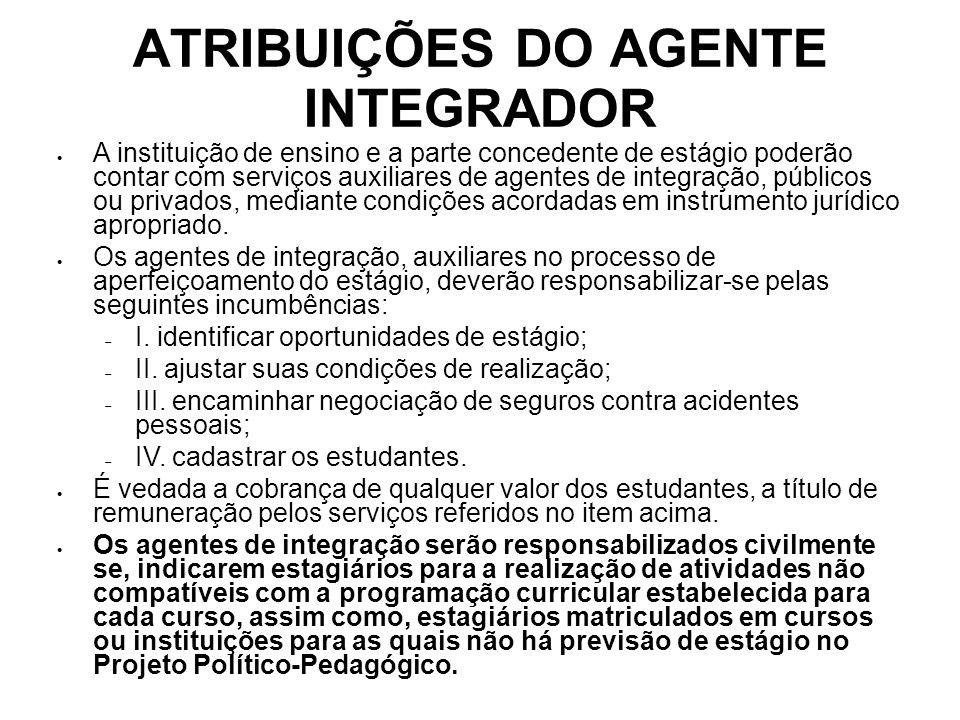 ATRIBUIÇÕES DO AGENTE INTEGRADOR