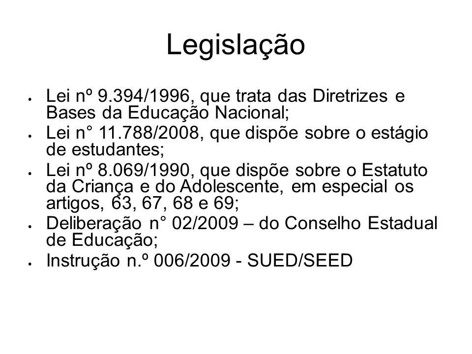 Legislação Lei nº 9.394/1996, que trata das Diretrizes e Bases da Educação Nacional; Lei n° 11.788/2008, que dispõe sobre o estágio de estudantes;
