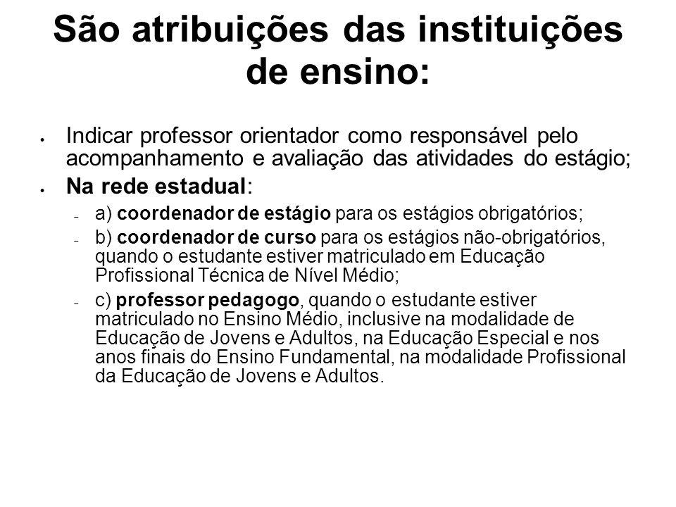 São atribuições das instituições de ensino: