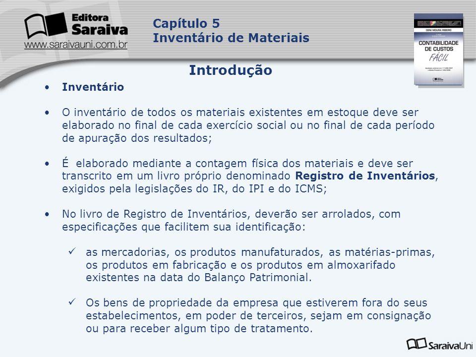 Introdução Capítulo 5 Inventário de Materiais Inventário