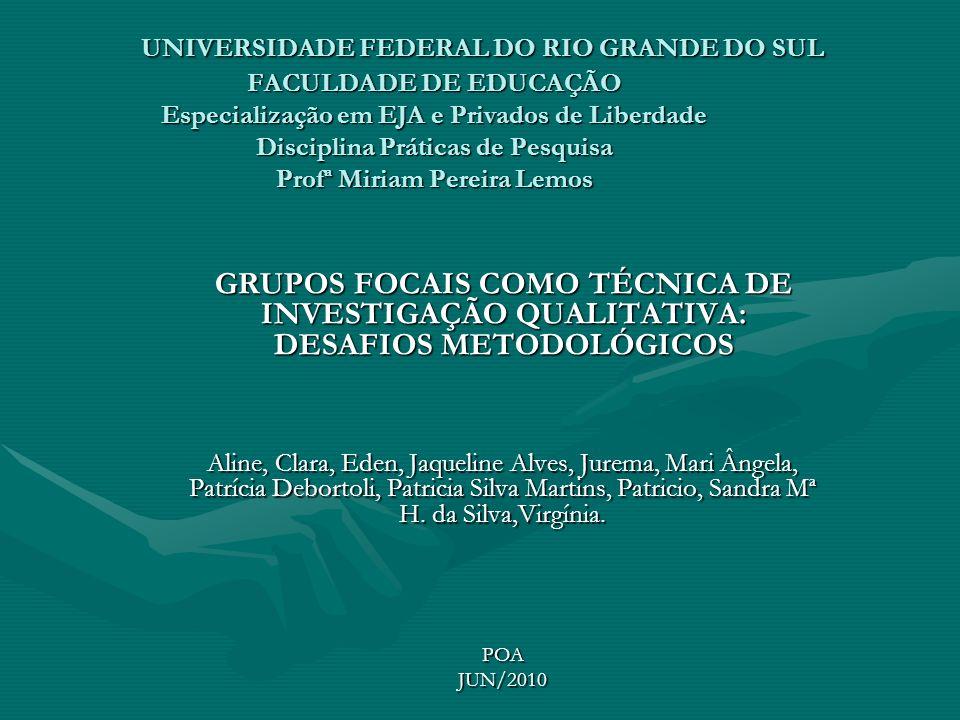 UNIVERSIDADE FEDERAL DO RIO GRANDE DO SUL FACULDADE DE EDUCAÇÃO Especialização em EJA e Privados de Liberdade Disciplina Práticas de Pesquisa Profª Miriam Pereira Lemos