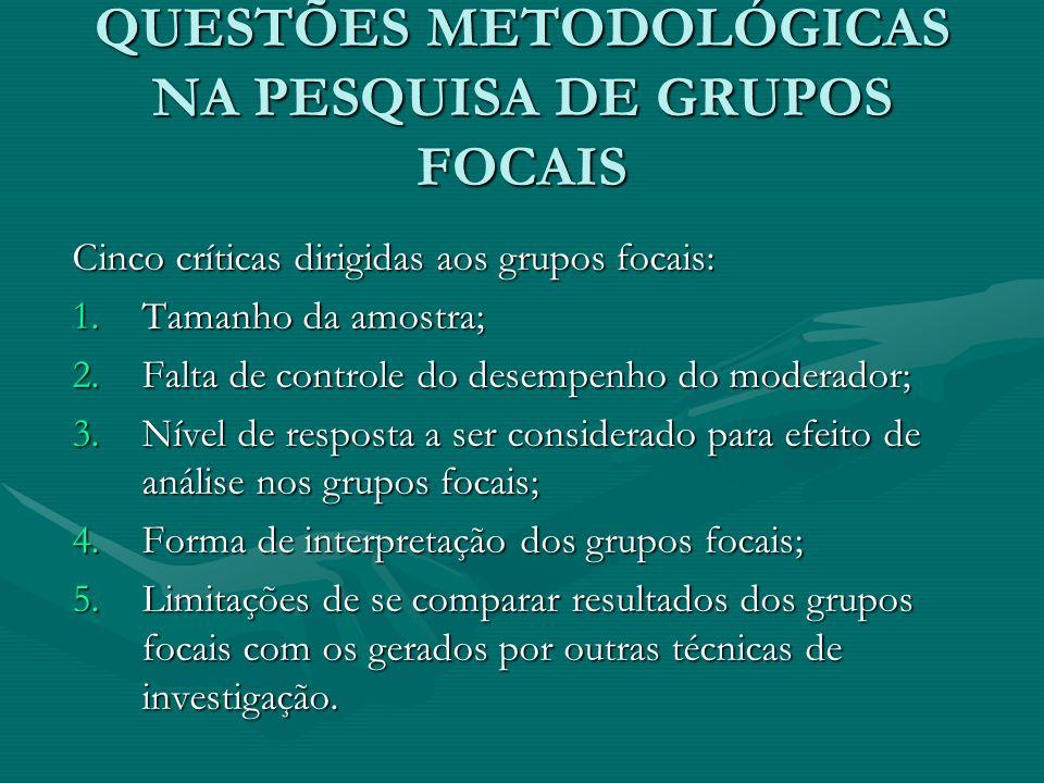 QUESTÕES METODOLÓGICAS NA PESQUISA DE GRUPOS FOCAIS