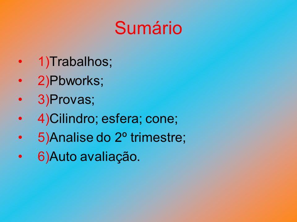 Sumário 1)Trabalhos; 2)Pbworks; 3)Provas; 4)Cilindro; esfera; cone;