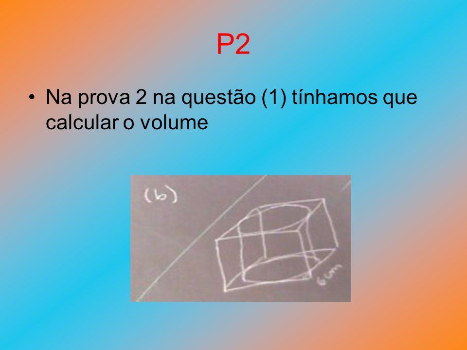 P2 Na prova 2 na questão (1) tínhamos que calcular o volume