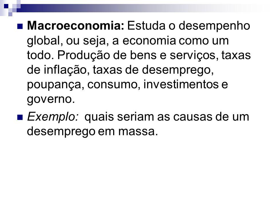 Macroeconomia: Estuda o desempenho global, ou seja, a economia como um todo. Produção de bens e serviços, taxas de inflação, taxas de desemprego, poupança, consumo, investimentos e governo.