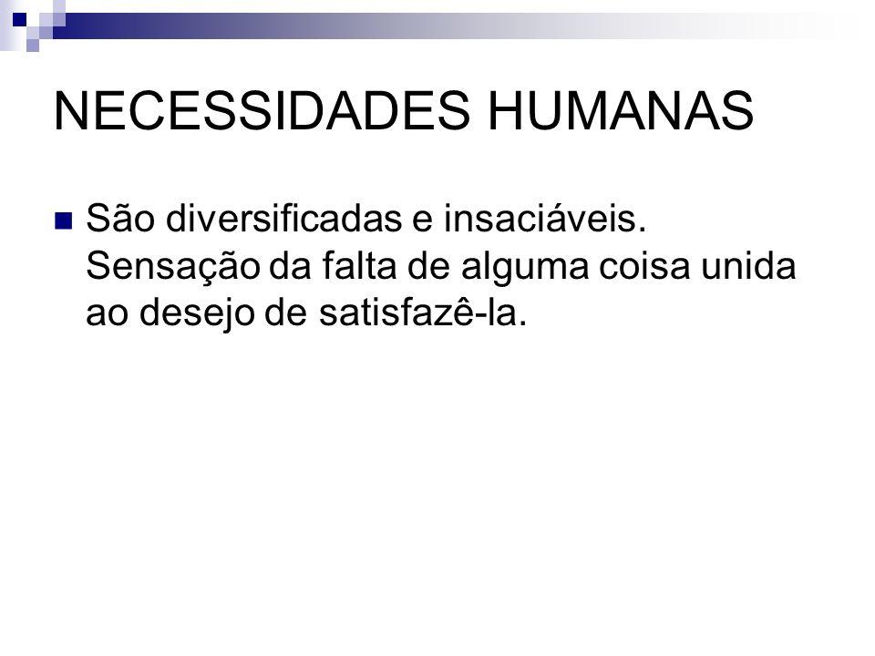 NECESSIDADES HUMANAS São diversificadas e insaciáveis.