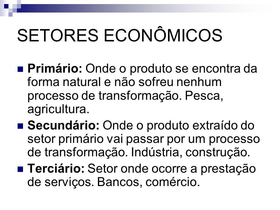 SETORES ECONÔMICOS Primário: Onde o produto se encontra da forma natural e não sofreu nenhum processo de transformação. Pesca, agricultura.