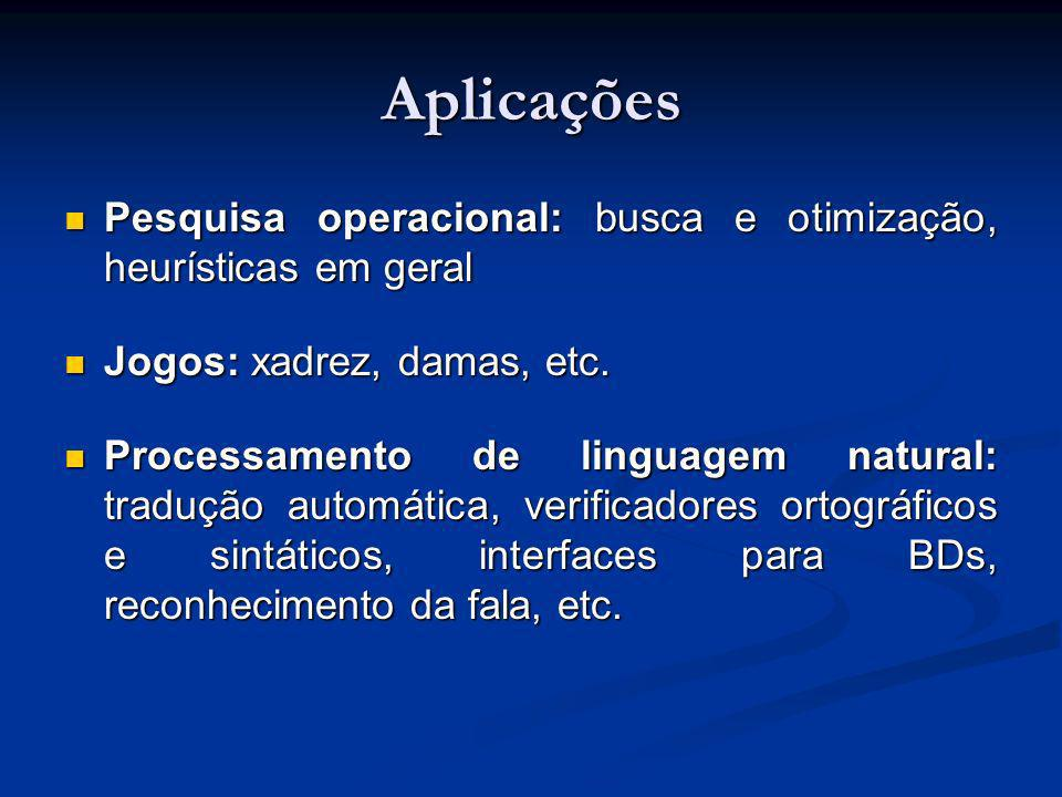 Aplicações Pesquisa operacional: busca e otimização, heurísticas em geral. Jogos: xadrez, damas, etc.