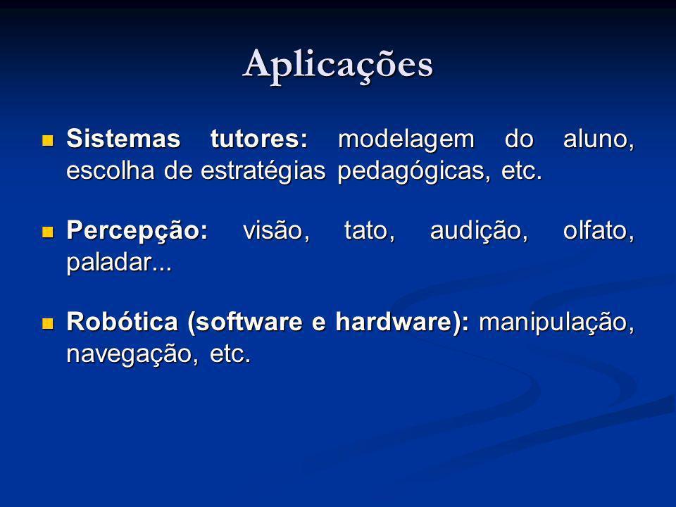 Aplicações Sistemas tutores: modelagem do aluno, escolha de estratégias pedagógicas, etc. Percepção: visão, tato, audição, olfato, paladar...