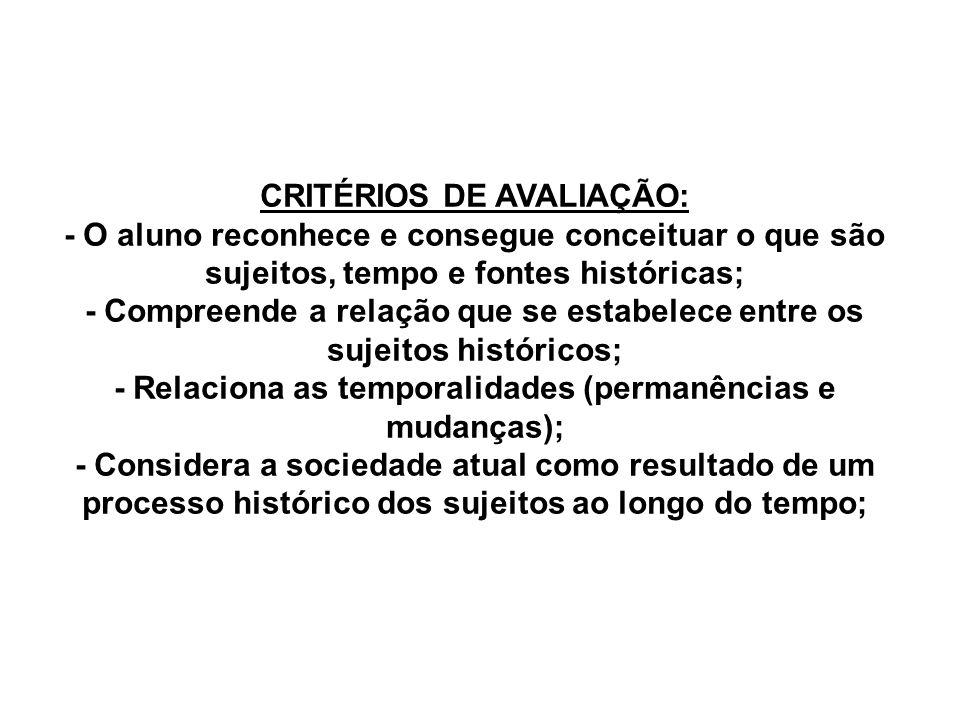 CRITÉRIOS DE AVALIAÇÃO: