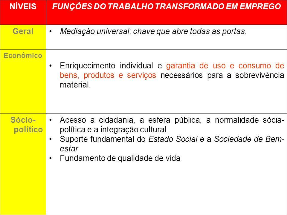 FUNÇÕES DO TRABALHO TRANSFORMADO EM EMPREGO