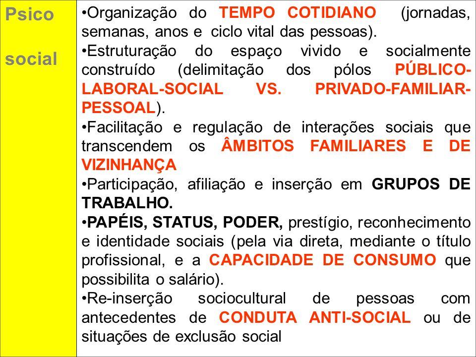 Psicosocial. Organização do TEMPO COTIDIANO (jornadas, semanas, anos e ciclo vital das pessoas).