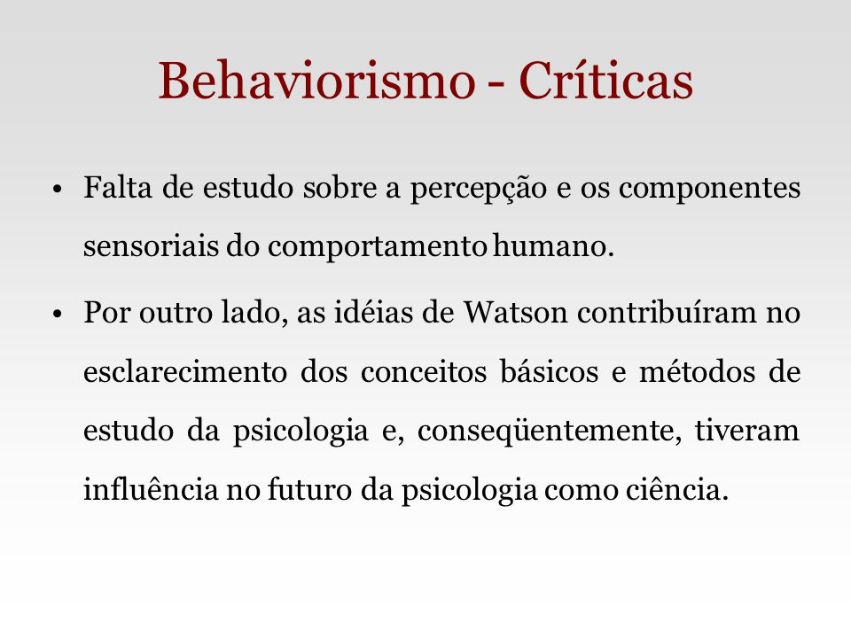 Behaviorismo - Críticas
