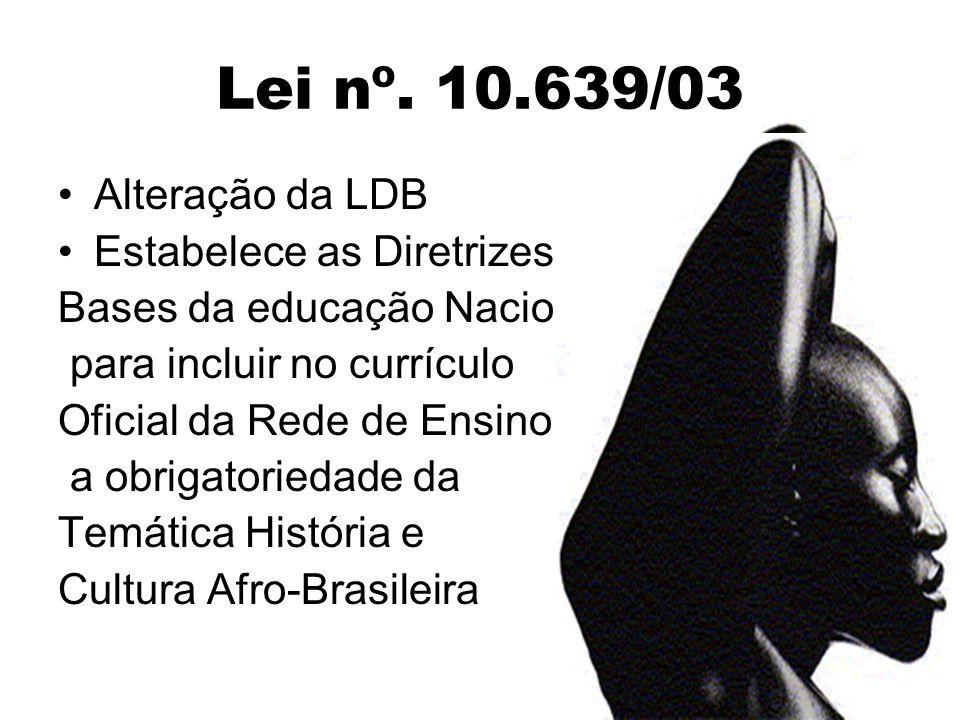 Lei nº. 10.639/03 Alteração da LDB Estabelece as Diretrizes e