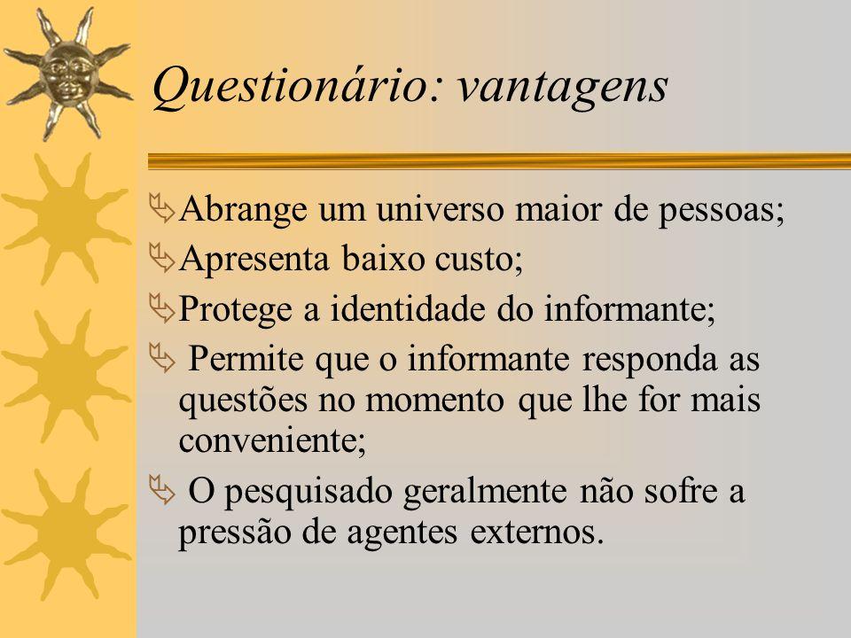 Questionário: vantagens