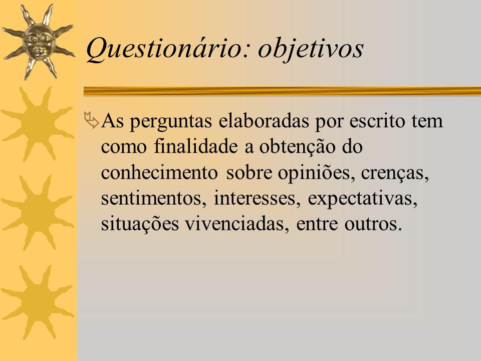 Questionário: objetivos