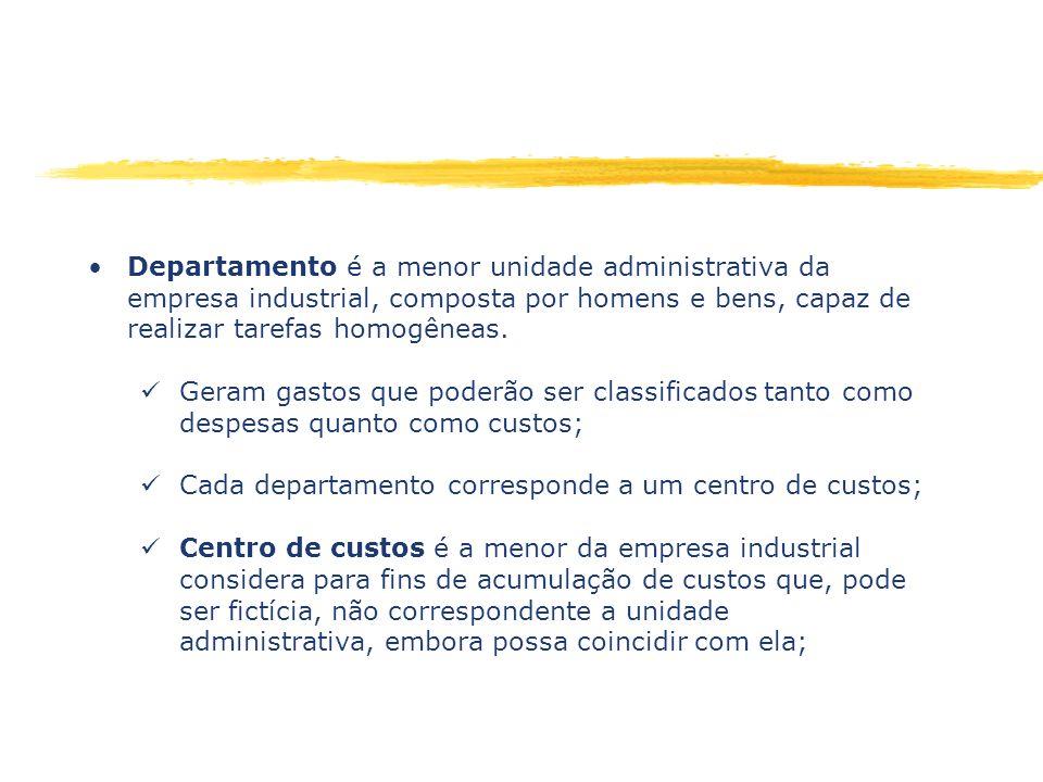 Departamento é a menor unidade administrativa da empresa industrial, composta por homens e bens, capaz de realizar tarefas homogêneas.