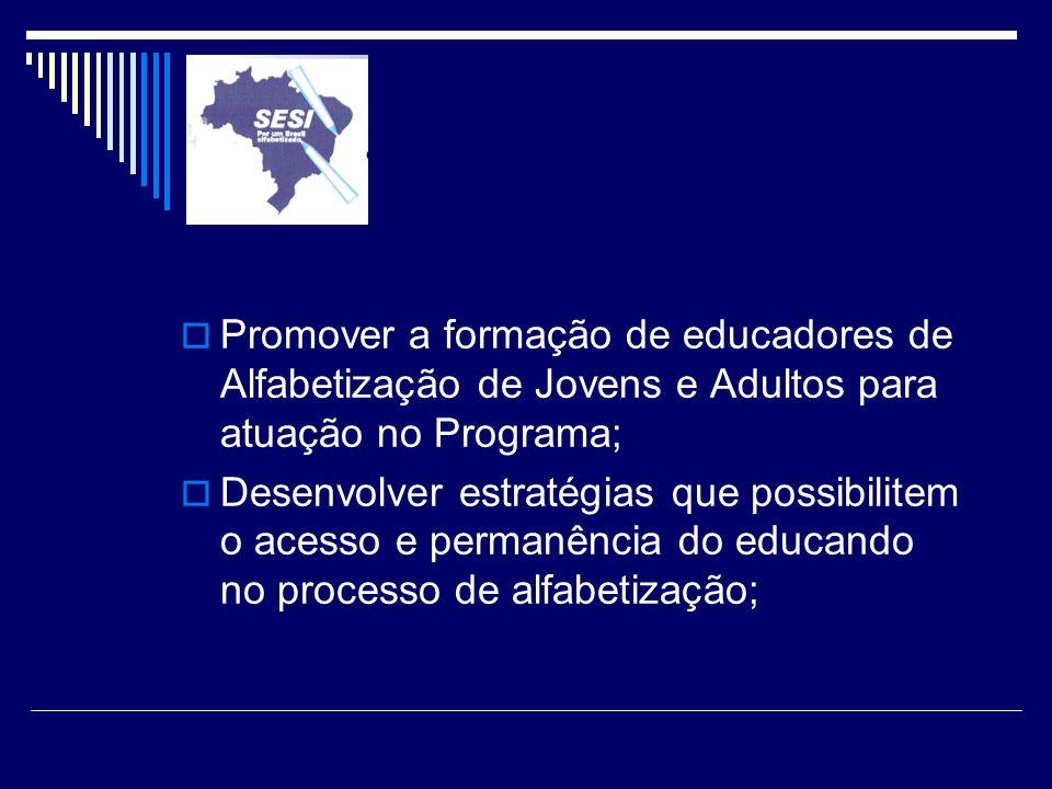 Promover a formação de educadores de Alfabetização de Jovens e Adultos para atuação no Programa;