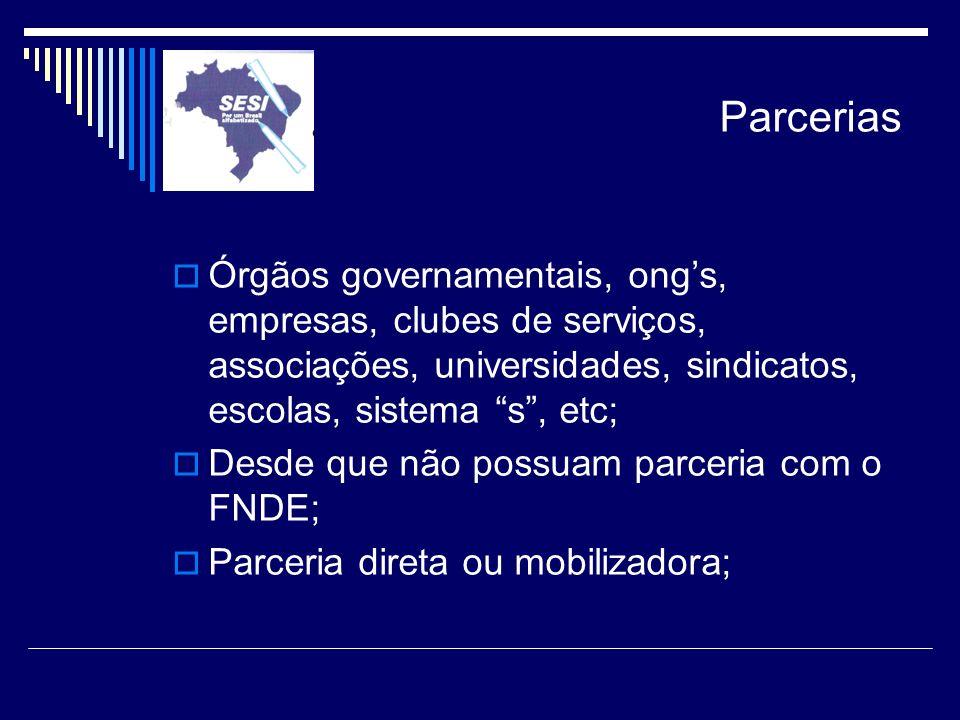 Parcerias Órgãos governamentais, ong's, empresas, clubes de serviços, associações, universidades, sindicatos, escolas, sistema s , etc;
