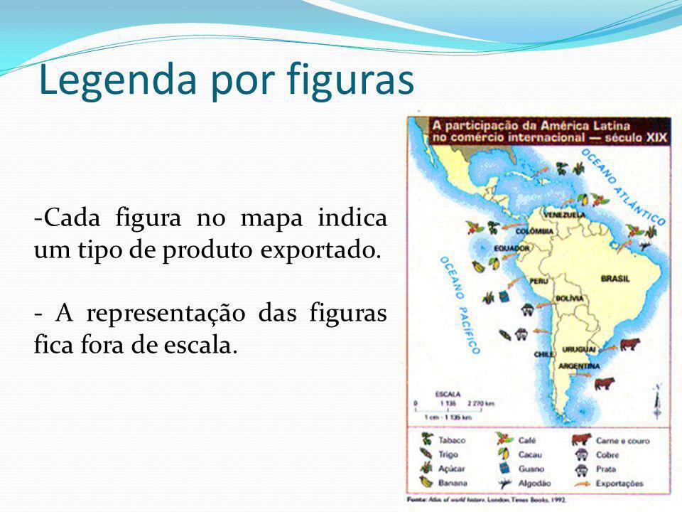 Legenda por figuras Cada figura no mapa indica um tipo de produto exportado.