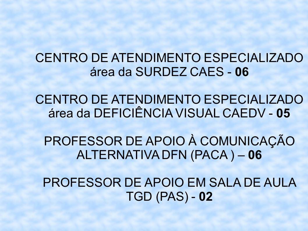 CENTRO DE ATENDIMENTO ESPECIALIZADO área da SURDEZ CAES - 06