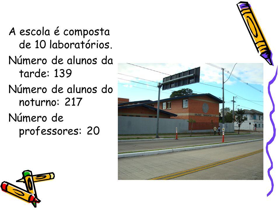 A escola é composta de 10 laboratórios.
