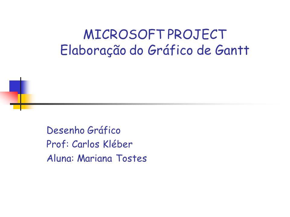 MICROSOFT PROJECT Elaboração do Gráfico de Gantt