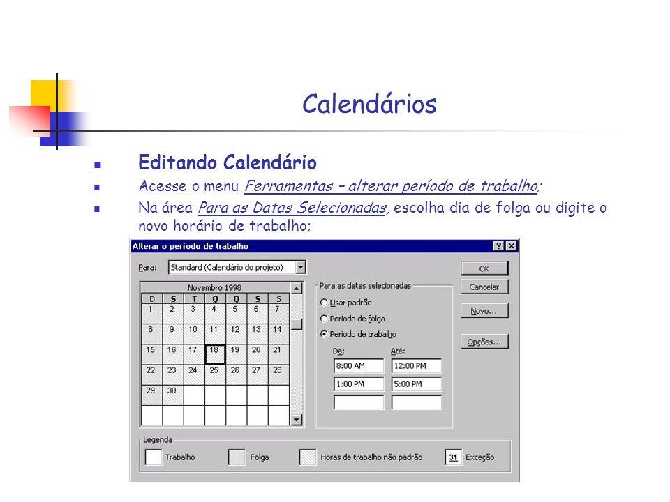 Calendários Editando Calendário