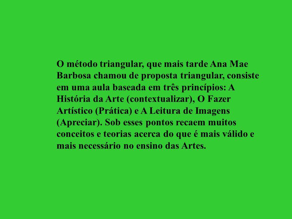 O método triangular, que mais tarde Ana Mae Barbosa chamou de proposta triangular, consiste em uma aula baseada em três princípios: A História da Arte (contextualizar), O Fazer Artístico (Prática) e A Leitura de Imagens (Apreciar).