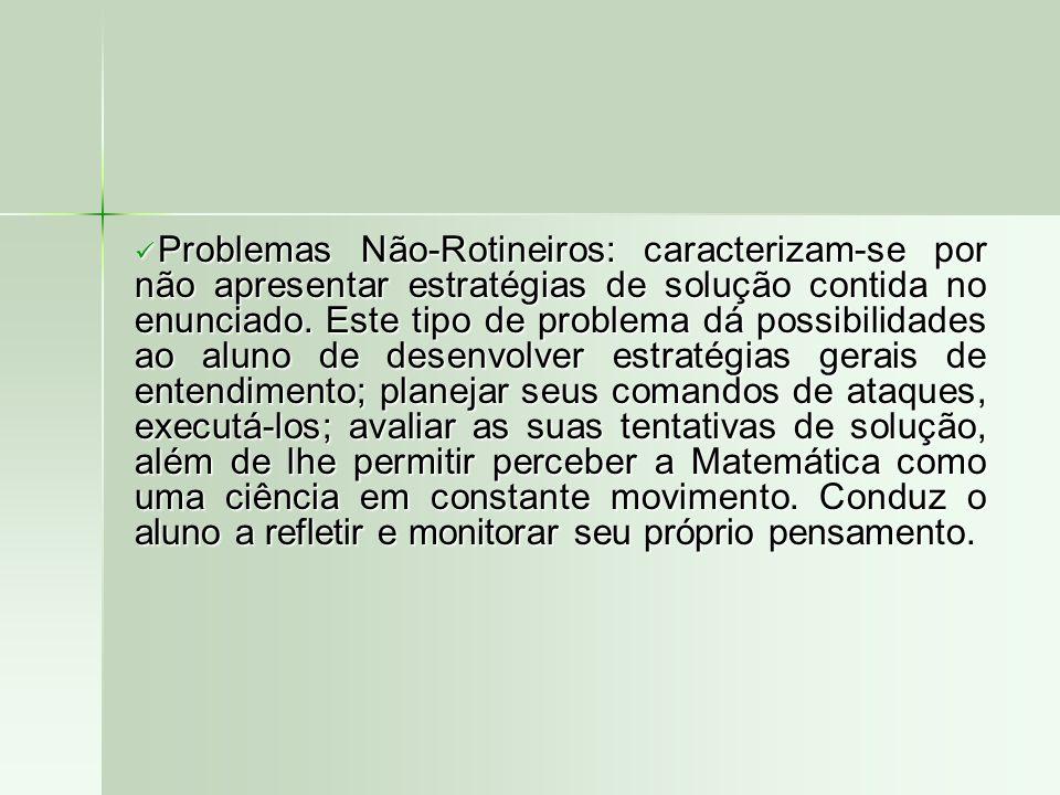 Problemas Não-Rotineiros: caracterizam-se por não apresentar estratégias de solução contida no enunciado.