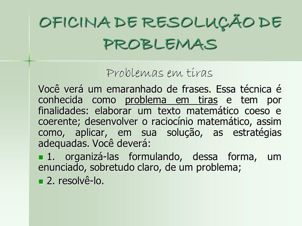 OFICINA DE RESOLUÇÃO DE PROBLEMAS