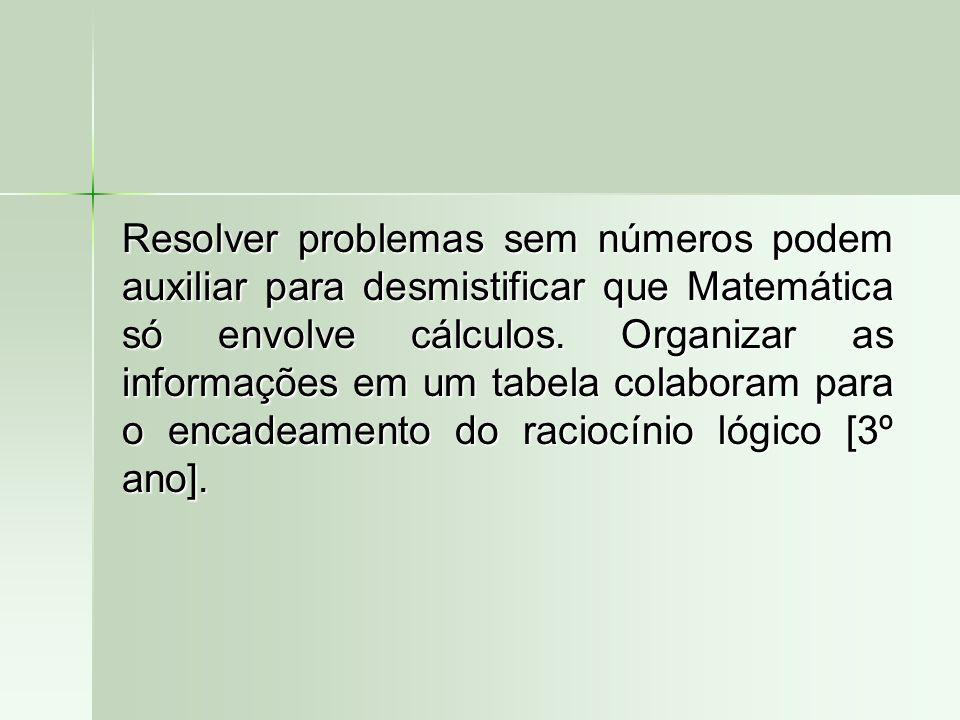 Resolver problemas sem números podem auxiliar para desmistificar que Matemática só envolve cálculos.
