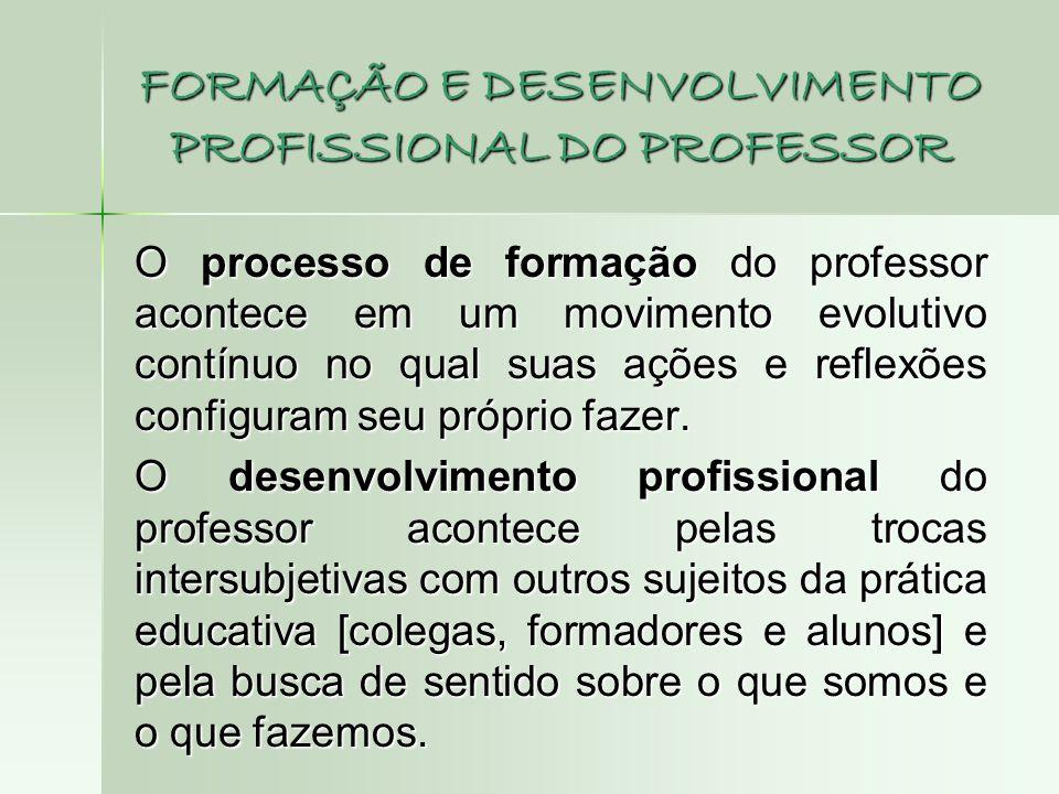 FORMAÇÃO E DESENVOLVIMENTO PROFISSIONAL DO PROFESSOR