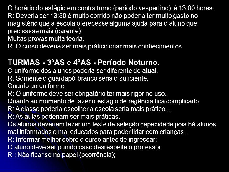 TURMAS - 3ºAS e 4ºAS - Período Noturno.