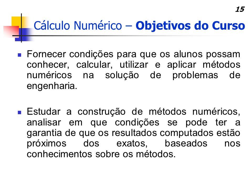 Cálculo Numérico – Objetivos do Curso