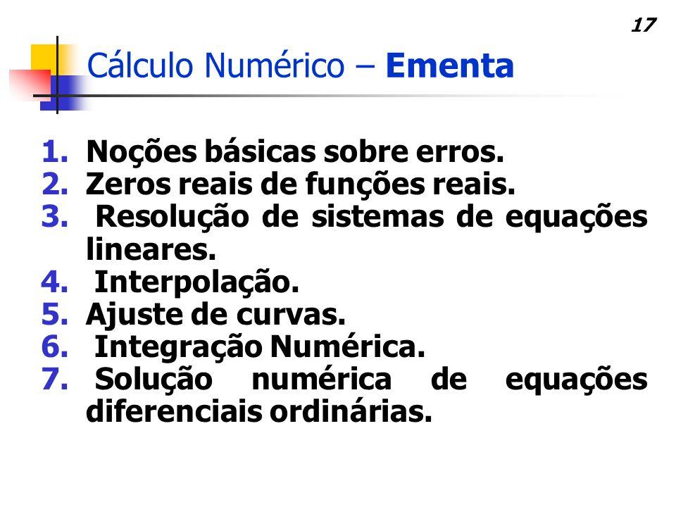 Cálculo Numérico – Ementa