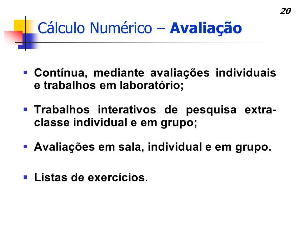Cálculo Numérico – Avaliação