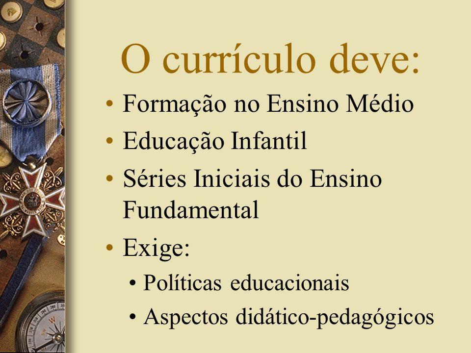 O currículo deve: Formação no Ensino Médio Educação Infantil