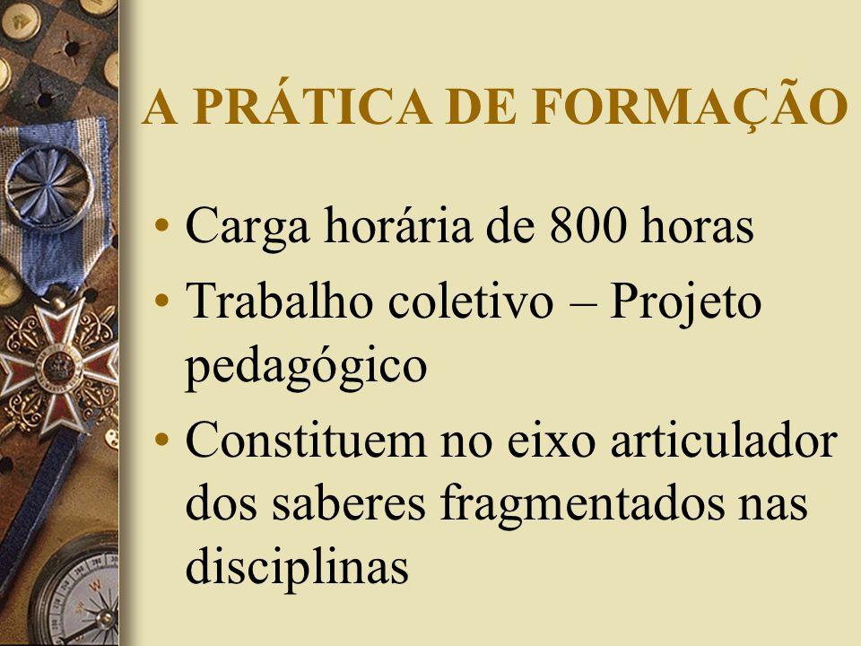 A PRÁTICA DE FORMAÇÃO Carga horária de 800 horas. Trabalho coletivo – Projeto pedagógico.