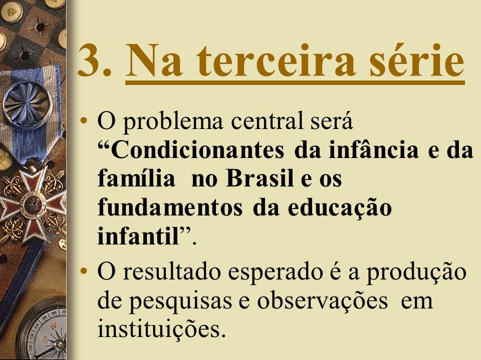 3. Na terceira sérieO problema central será Condicionantes da infância e da família no Brasil e os fundamentos da educação infantil .