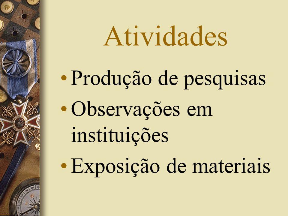 Atividades Produção de pesquisas Observações em instituições