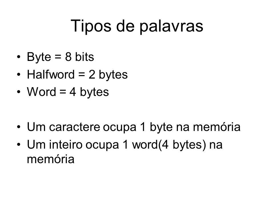 Tipos de palavras Byte = 8 bits Halfword = 2 bytes Word = 4 bytes